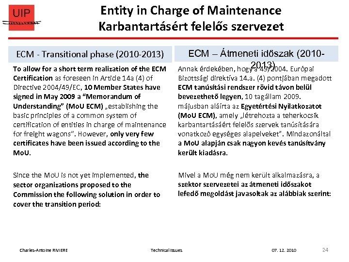 Entity in Charge of Maintenance Karbantartásért felelős szervezet ECM - Transitional phase (2010 -2013)