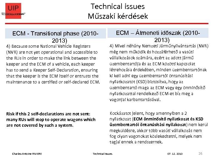 Technical issues Műszaki kérdések ECM - Transitional phase (20102013) ECM – Átmeneti időszak (20102013)