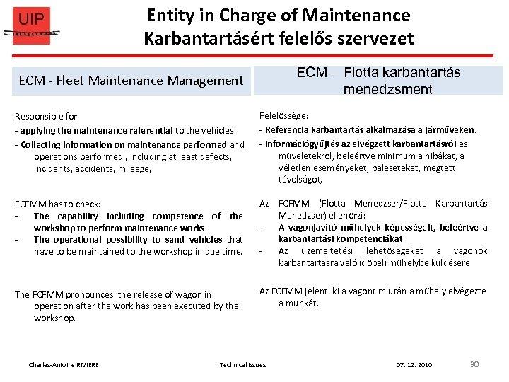 Entity in Charge of Maintenance Karbantartásért felelős szervezet ECM – Flotta karbantartás menedzsment ECM