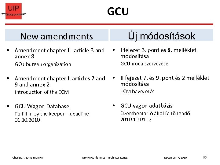 GCU New amendments Új módosítások Amendment chapter I - article 3 and I fejezet