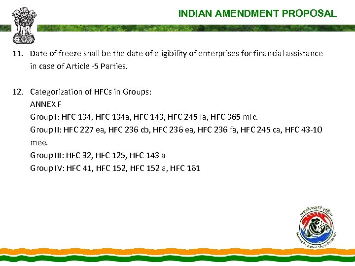 INDIAN AMENDMENT PROPOSAL 11. Date of freeze shall be the date of eligibility of