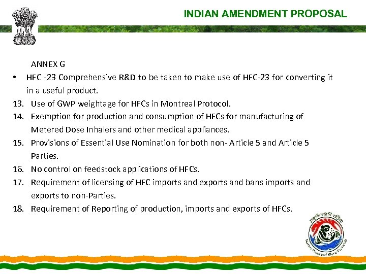 INDIAN AMENDMENT PROPOSAL ANNEX G • HFC -23 Comprehensive R&D to be taken to