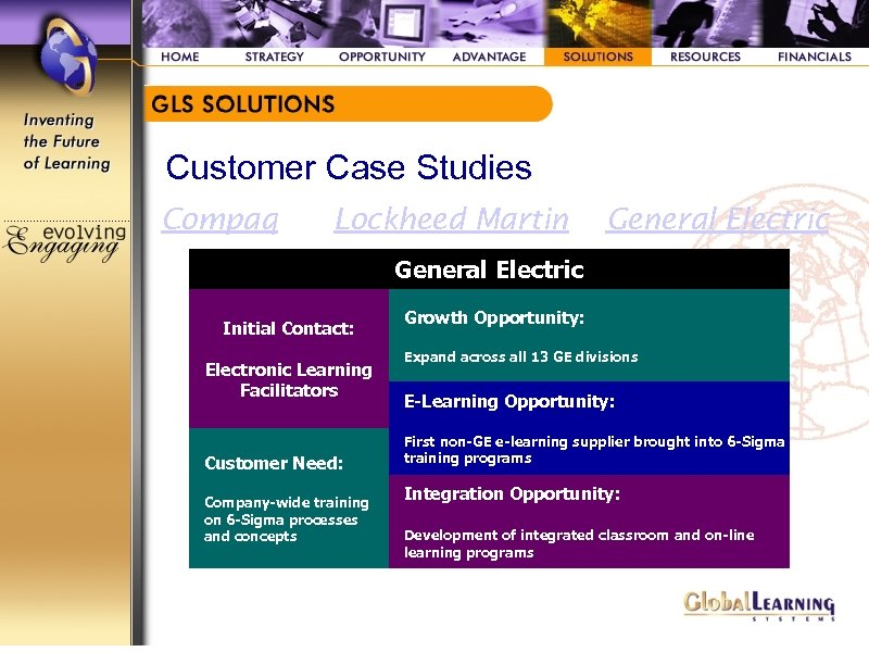 Customer Case Studies Compaq Lockheed Martin General Electric Initial Contact: Electronic Learning Facilitators Customer