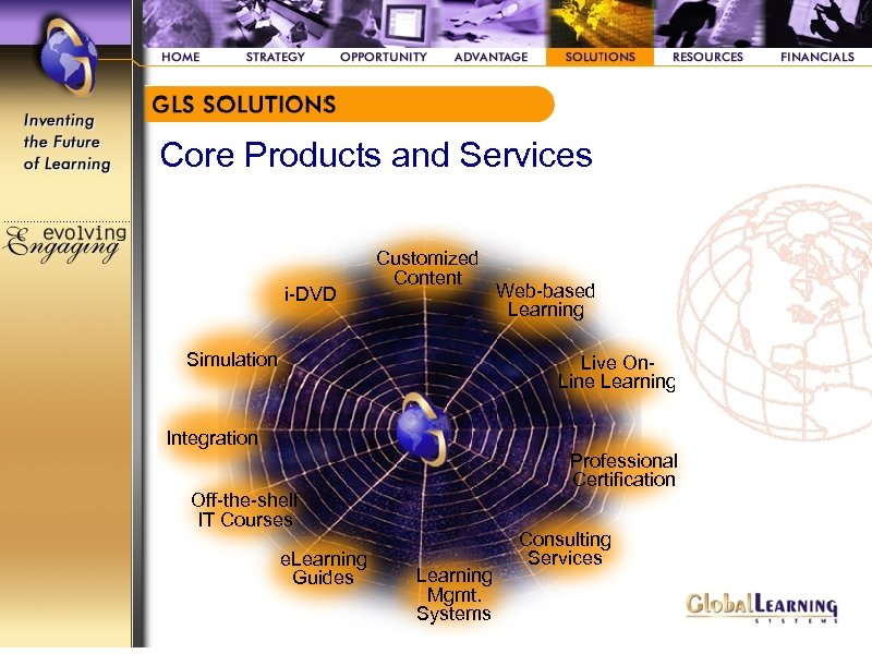 Core Products and Services i-DVD Customized Content Simulation Web-based Learning Live On. Line Learning