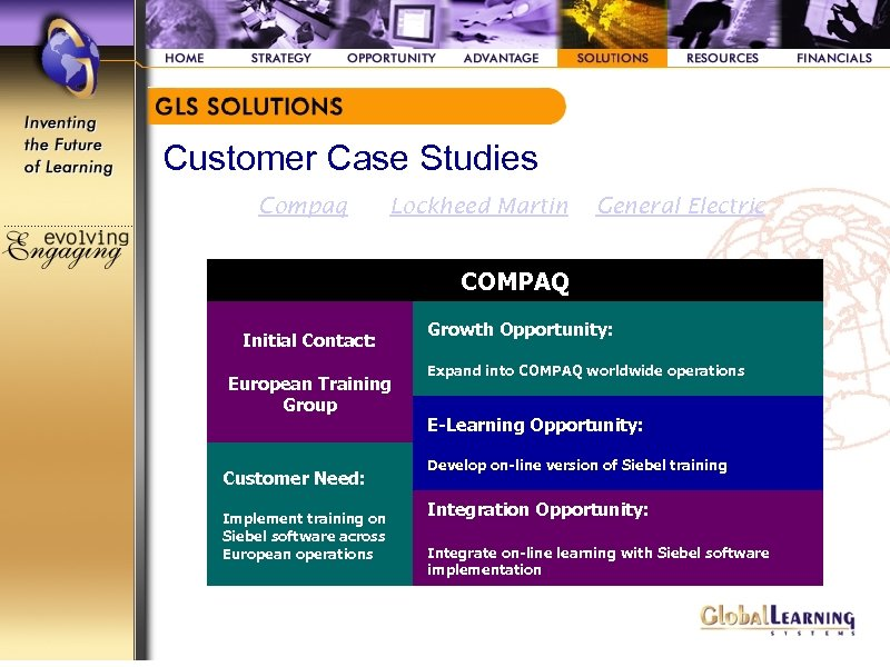 Customer Case Studies Compaq Lockheed Martin General Electric COMPAQ Initial Contact: European Training Group
