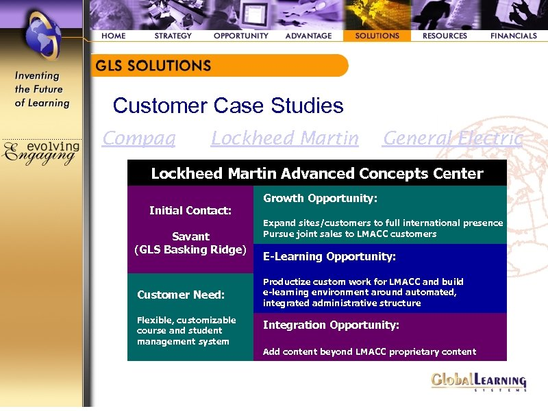 Customer Case Studies Compaq Lockheed Martin General Electric Lockheed Martin Advanced Concepts Center Initial