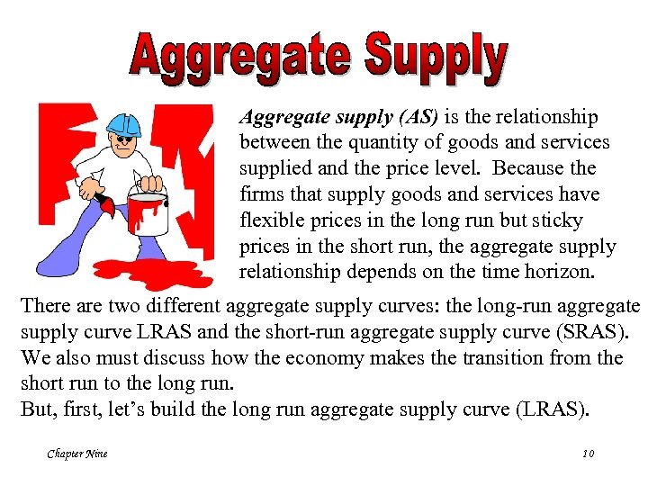 Aggregate supply (AS) is the relationship between the quantity of goods and services supplied