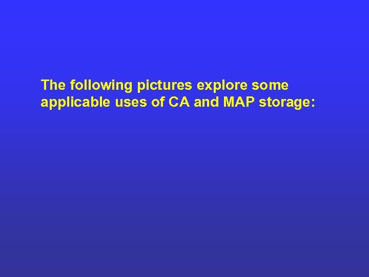 The following pictures explore some applicable uses of CA and MAP storage: