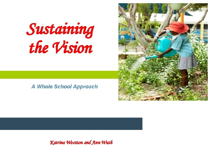 Sustaining the Vision A Whole School Approach Katrina Wootton and Ann Wuth