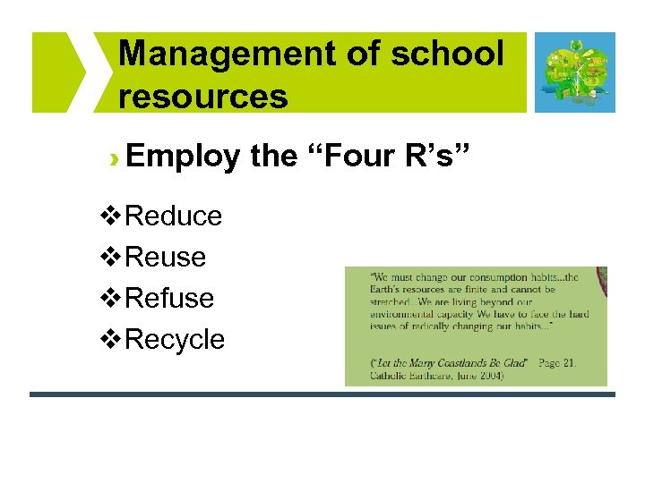 "Management of school resources Employ the ""Four R's"" v. Reduce v. Reuse v. Refuse"