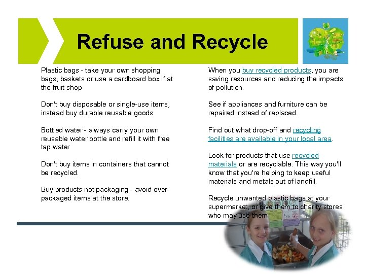 Refuse and Recycle Plastic bags - take your own shopping bags, baskets or use