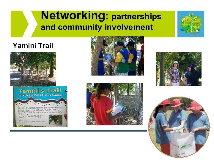 Networking: partnerships and community involvement Yamini Trail