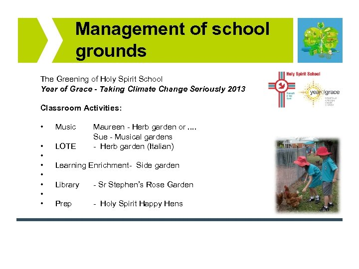 Management of school grounds The Greening of Holy Spirit School Year of Grace -