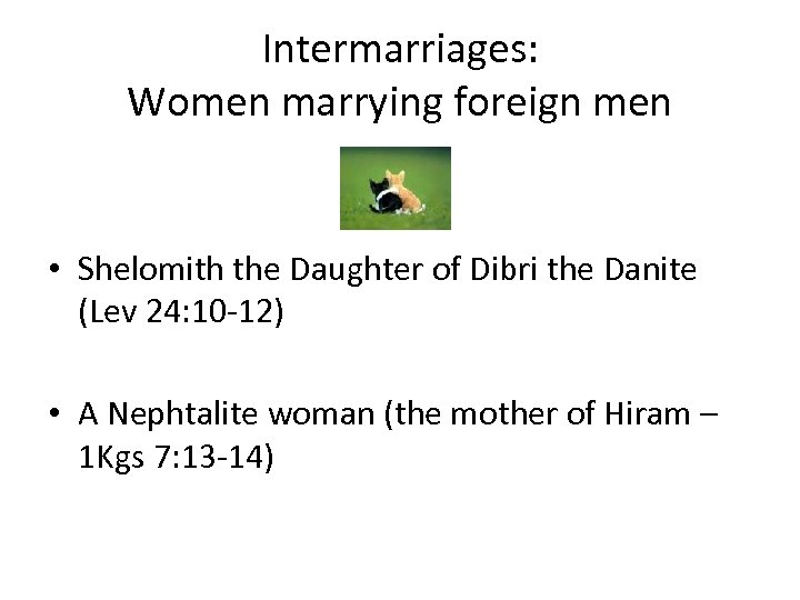 Intermarriages: Women marrying foreign men • Shelomith the Daughter of Dibri the Danite (Lev