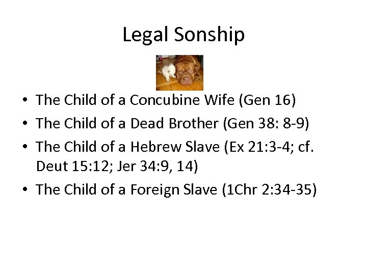 Legal Sonship • The Child of a Concubine Wife (Gen 16) • The Child