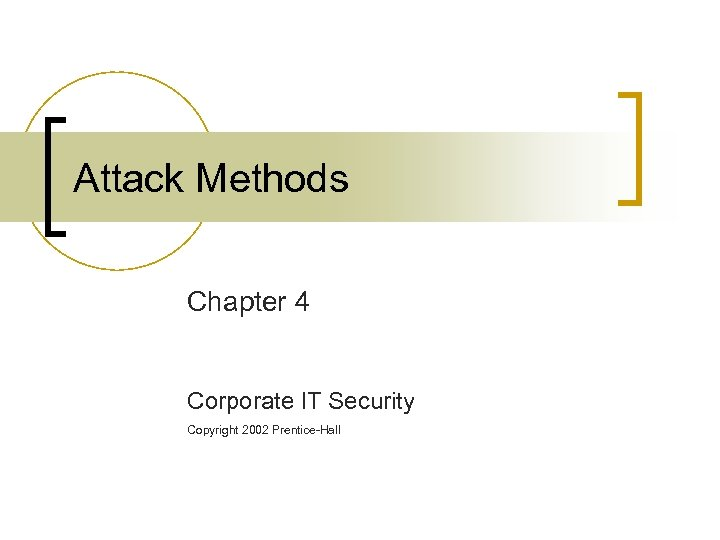 Attack Methods Chapter 4 Corporate IT Security Copyright 2002 Prentice-Hall
