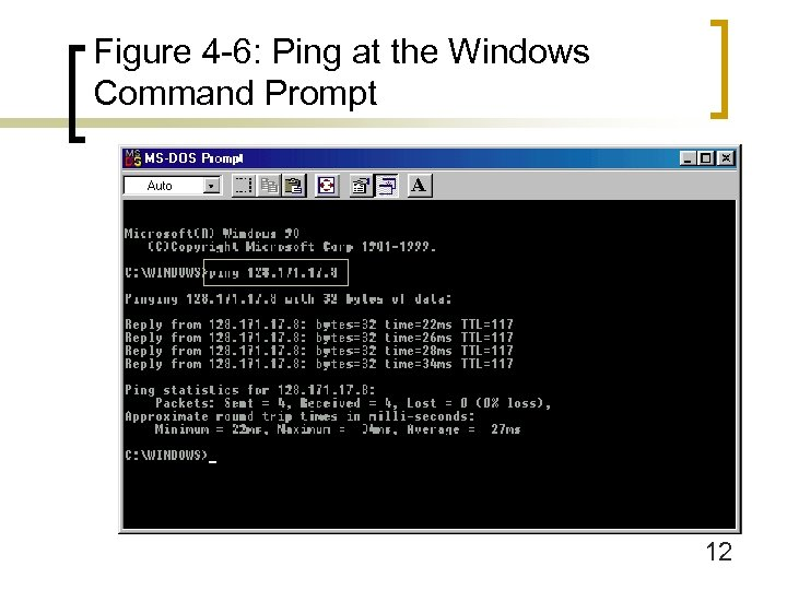 Figure 4 -6: Ping at the Windows Command Prompt 12