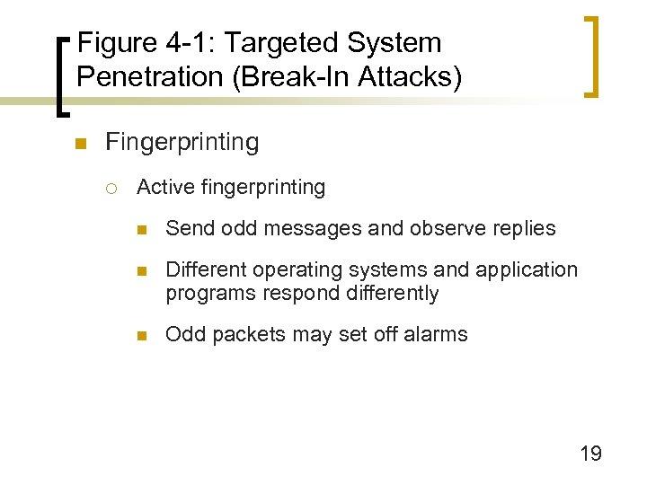 Figure 4 -1: Targeted System Penetration (Break-In Attacks) n Fingerprinting ¡ Active fingerprinting n