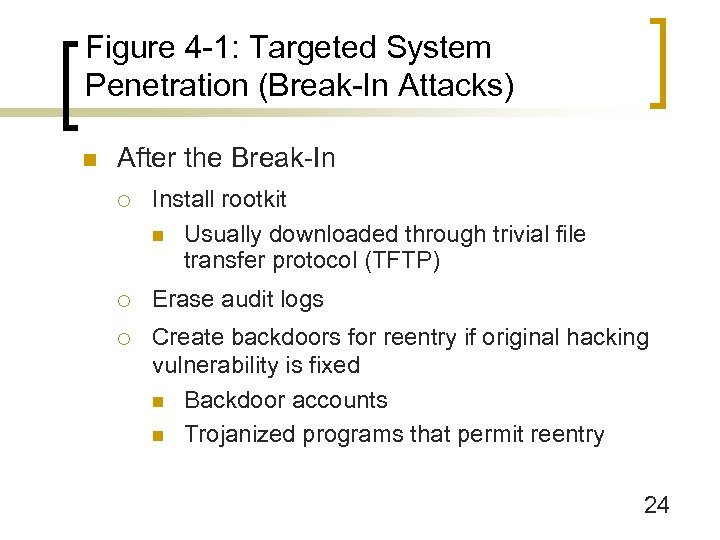 Figure 4 -1: Targeted System Penetration (Break-In Attacks) n After the Break-In ¡ Install