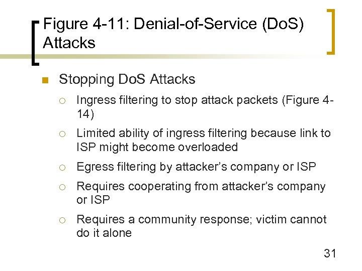Figure 4 -11: Denial-of-Service (Do. S) Attacks n Stopping Do. S Attacks ¡ Ingress