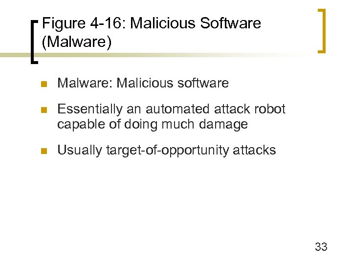 Figure 4 -16: Malicious Software (Malware) n Malware: Malicious software n Essentially an automated