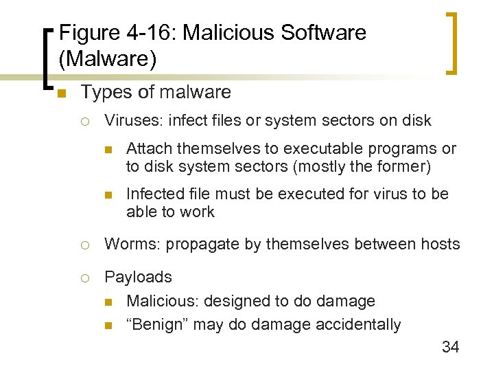 Figure 4 -16: Malicious Software (Malware) n Types of malware ¡ Viruses: infect files