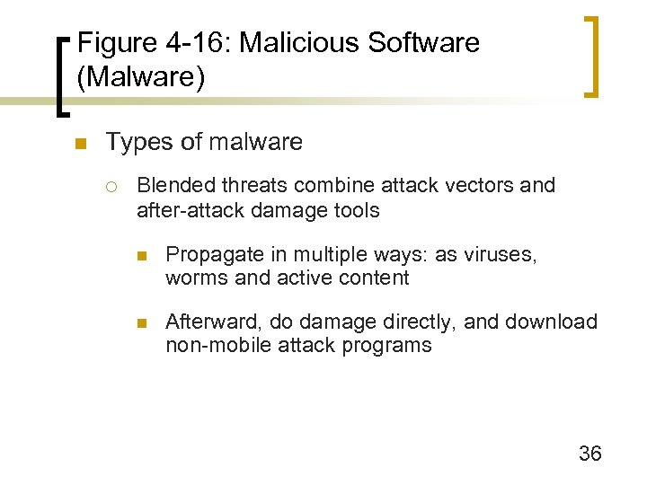 Figure 4 -16: Malicious Software (Malware) n Types of malware ¡ Blended threats combine