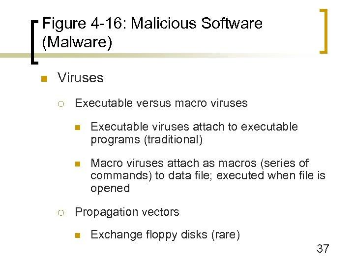 Figure 4 -16: Malicious Software (Malware) n Viruses ¡ Executable versus macro viruses n
