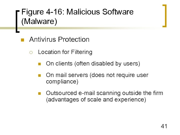 Figure 4 -16: Malicious Software (Malware) n Antivirus Protection ¡ Location for Filtering n