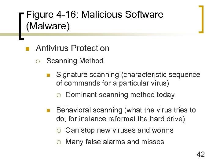 Figure 4 -16: Malicious Software (Malware) n Antivirus Protection ¡ Scanning Method n Signature