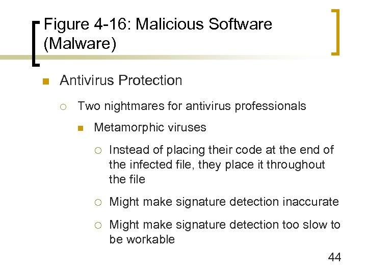 Figure 4 -16: Malicious Software (Malware) n Antivirus Protection ¡ Two nightmares for antivirus