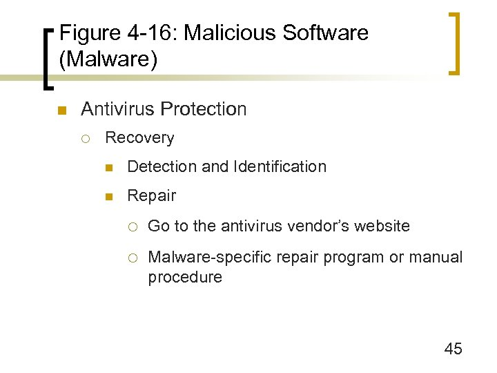 Figure 4 -16: Malicious Software (Malware) n Antivirus Protection ¡ Recovery n Detection and