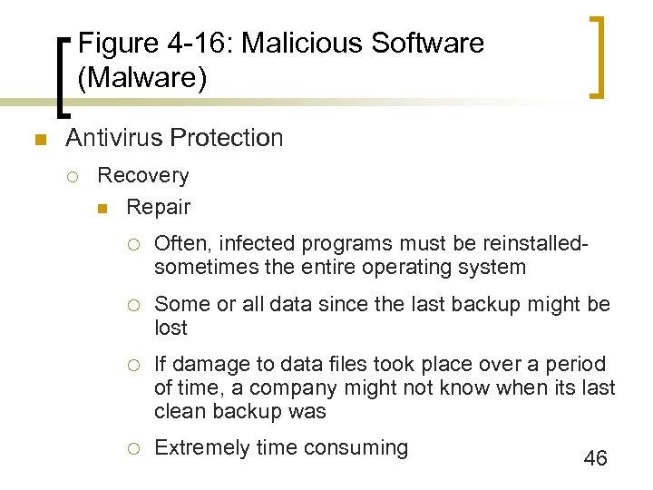 Figure 4 -16: Malicious Software (Malware) n Antivirus Protection ¡ Recovery n Repair ¡