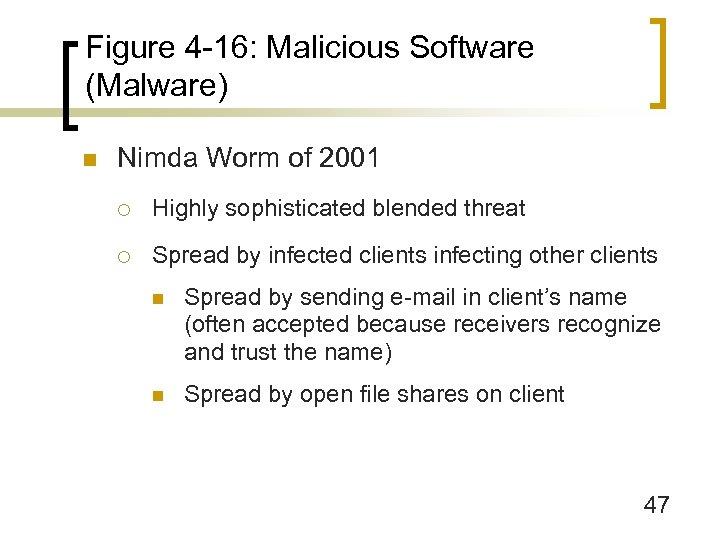 Figure 4 -16: Malicious Software (Malware) n Nimda Worm of 2001 ¡ Highly sophisticated