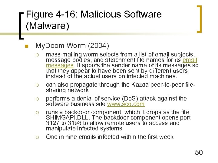 Figure 4 -16: Malicious Software (Malware) n My. Doom Worm (2004) ¡ ¡ ¡