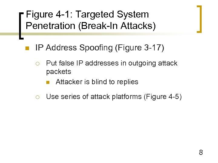 Figure 4 -1: Targeted System Penetration (Break-In Attacks) n IP Address Spoofing (Figure 3