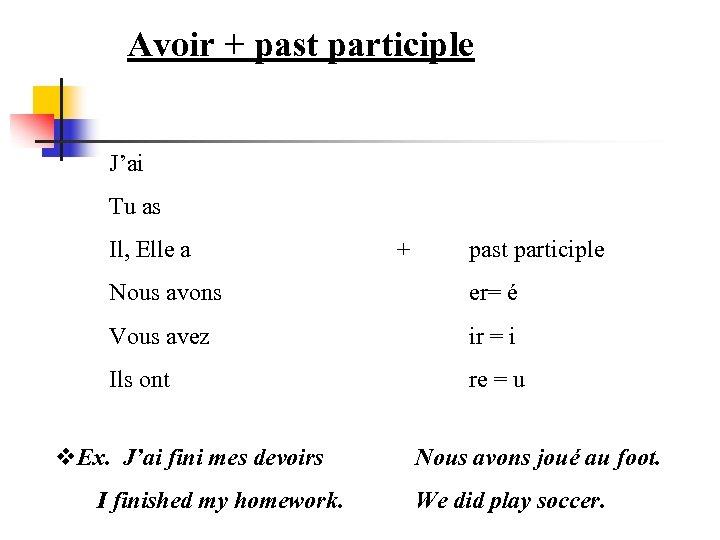 Avoir + past participle J'ai Tu as Il, Elle a + past participle Nous