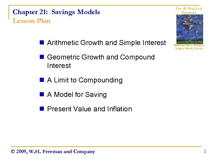 Chapter 21: Savings Models Lesson Plan n Arithmetic Growth and Simple Interest For All