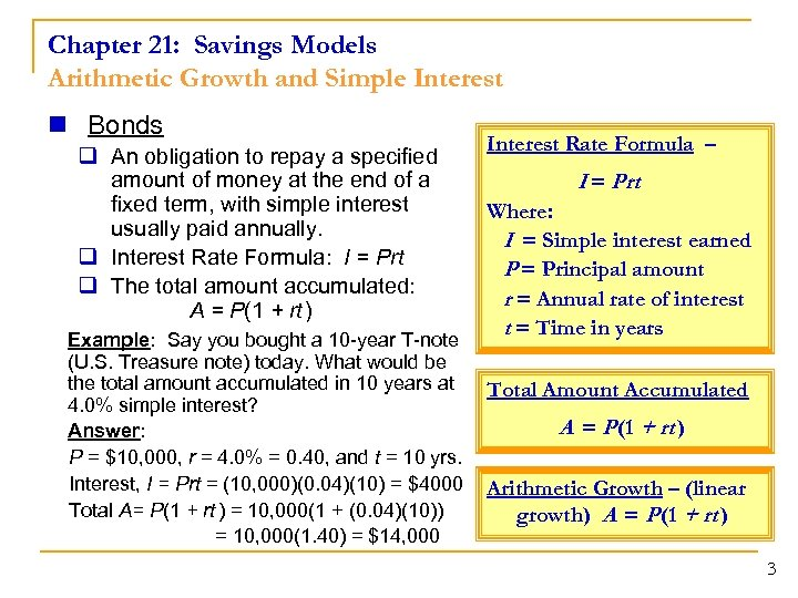 Chapter 21: Savings Models Arithmetic Growth and Simple Interest n Bonds q An obligation