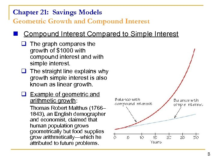 Chapter 21: Savings Models Geometric Growth and Compound Interest n Compound Interest Compared to