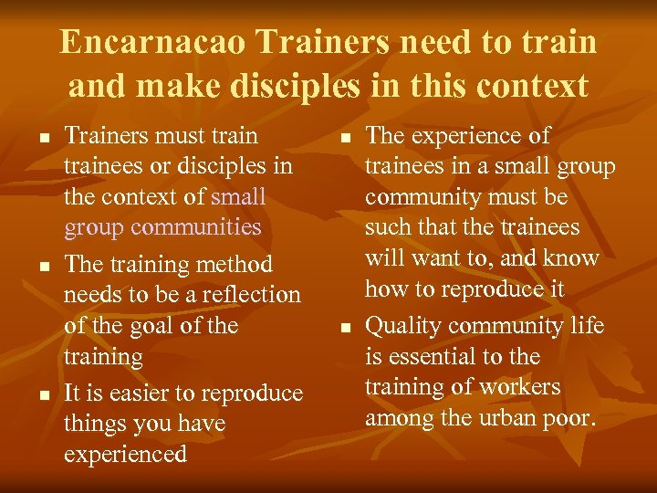 Encarnacao Trainers need to train and make disciples in this context n n n