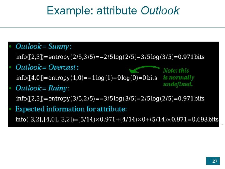 Example: attribute Outlook 27 27