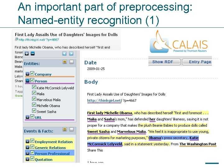 An important part of preprocessing: Named-entity recognition (1) 63