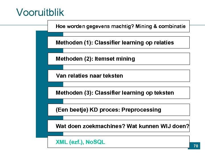 Vooruitblik Hoe worden gegevens machtig? Mining & combinatie Methoden (1): Classifier learning op relaties