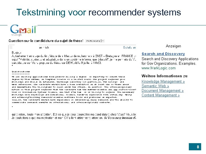 Tekstmining voor recommender systems 8