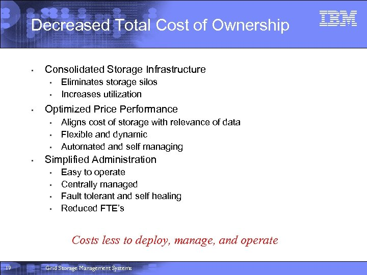 Decreased Total Cost of Ownership • Consolidated Storage Infrastructure • • • Optimized Price