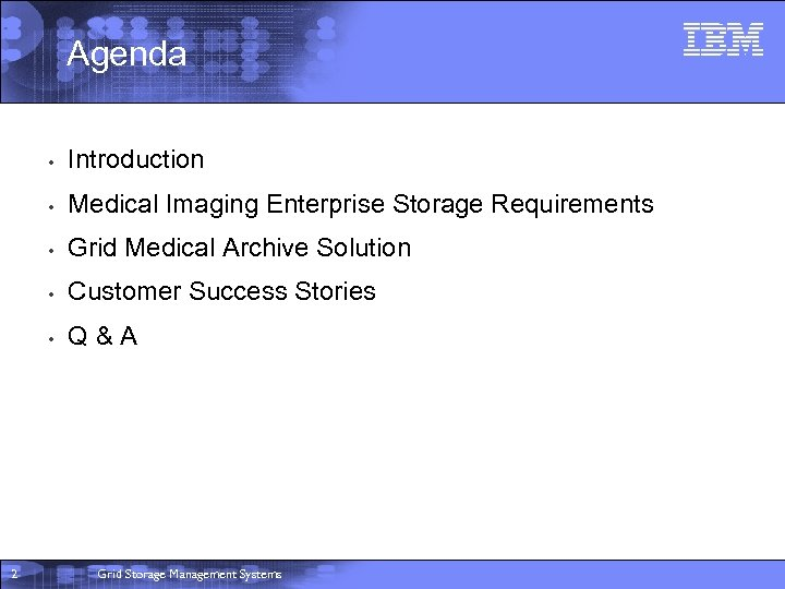 Agenda • • Medical Imaging Enterprise Storage Requirements • Grid Medical Archive Solution •
