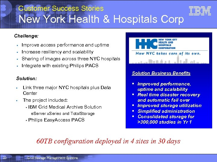 Customer Success Stories New York Health & Hospitals Corp Challenge: § § Improve access