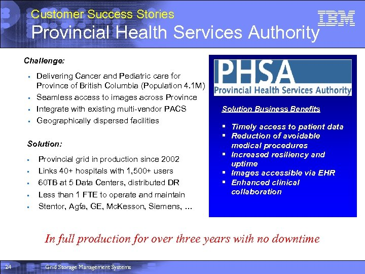 Customer Success Stories Provincial Health Services Authority Challenge: § § Delivering Cancer and Pediatric