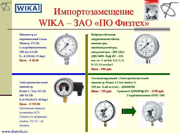Импортозамещение WIKA – ЗАО «ПО Физтех» Манометр из нержавеющей стали Модель 233. 50, с